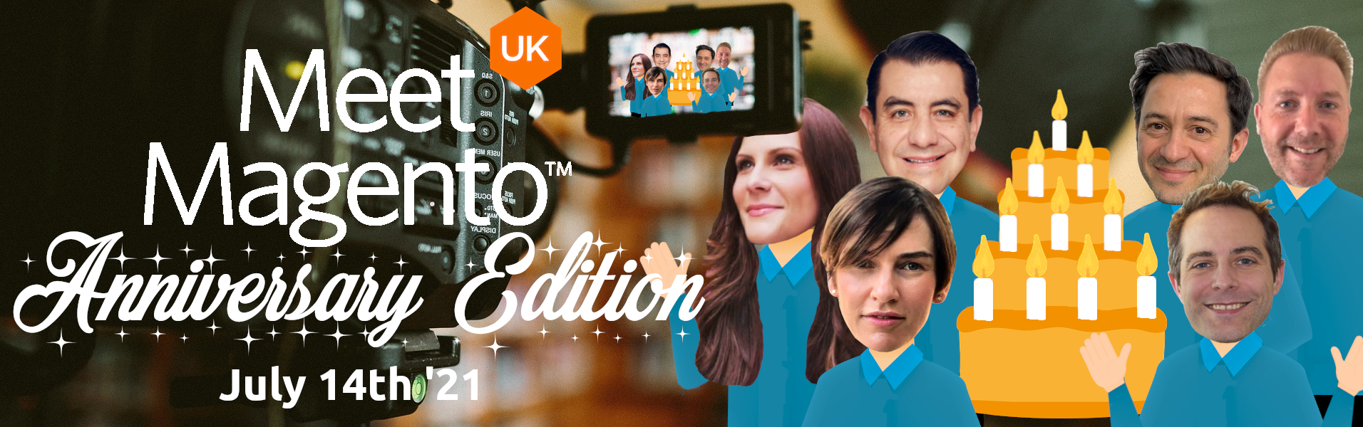 Meet Magento UK '21 - Alejandro Mondragon, Osvaldo Spadano, Vinai Kopp, Maša Prastalo, Brian Mapley & Olena Tkacheva.